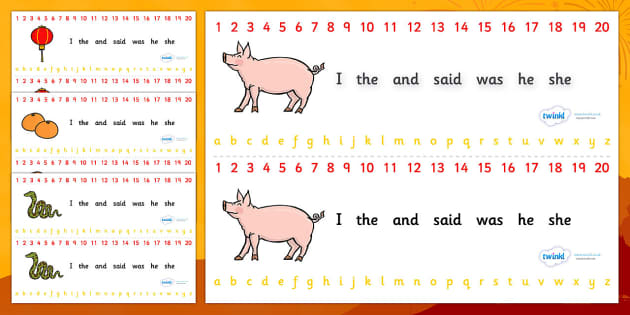 Combined Alphabet and Number Strips (Chinese New Year) - Chinese New Year, Alphabet, Numbers, Writing aid, China, lantern, dragon, chopsticks, noodles, year of the rabbit, ox, snake, fortune cookie, pig