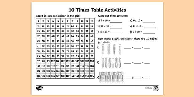 10 Times Table Activity Sheet - 10 times tables, counting 10s