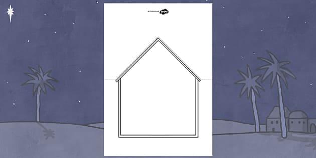 Nativity Stable Christmas Card Template - nativity, christmas