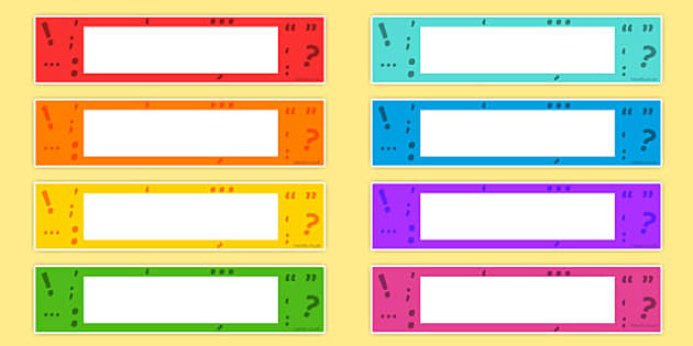 Punctuation Themed Editable Gratnells Tray Labels - punctuation
