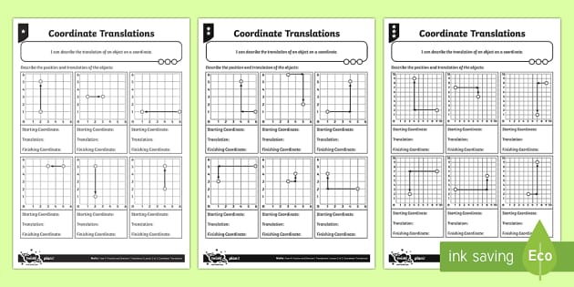 Coordinate Translations Differentiated Activity Sheets - Position, direction, coordinates, translations.