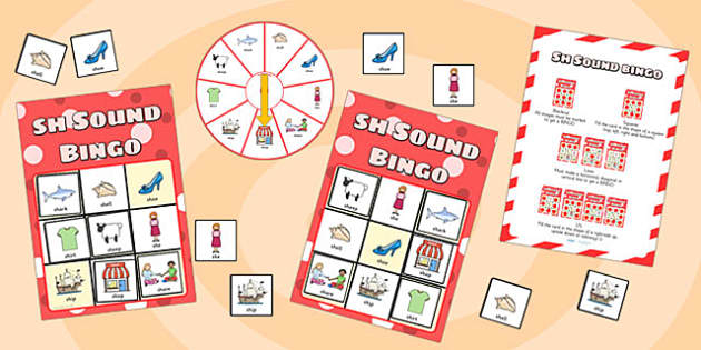 sh Sound Bingo Game with Spinner - sh sound, sound, sounds, bingo