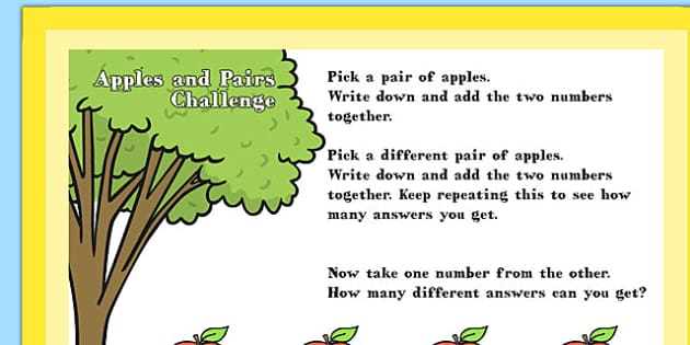 A4 KS1 Apples and Pairs Maths Challenge Poster - maths, challenge