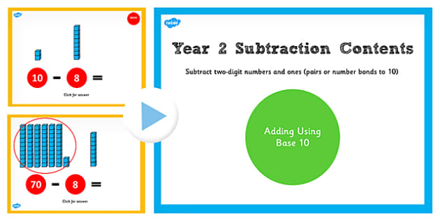 Year 2 Subtracting 2 Numbers and Ones Pairs and Bonds to 10 Base