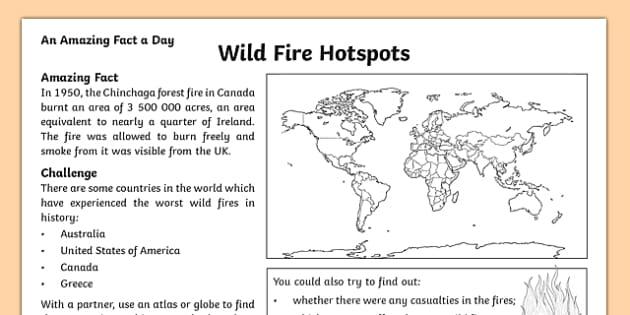 Wild Fire Hotspots Activity Sheet, worksheet