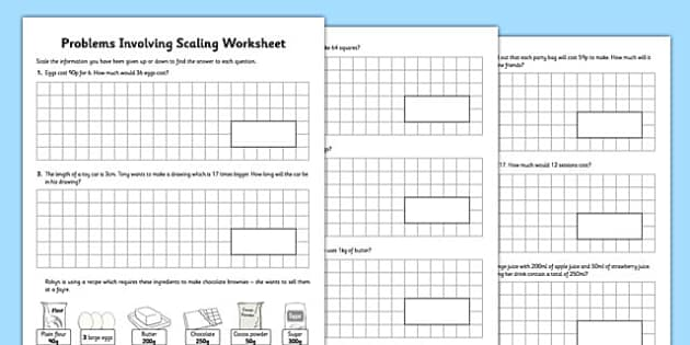 Problems Involving Scaling Activity Sheet - ratio, recipe problems, word problems, real life, context, worksheet