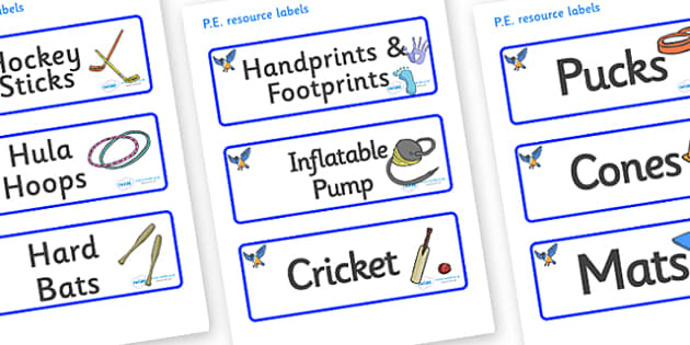 Starling Themed Editable PE Resource Labels - Themed PE label, PE equipment, PE, physical education, PE cupboard, PE, physical development, quoits, cones, bats, balls, Resource Label, Editable Labels, KS1 Labels, Foundation Labels, Foundation Stage L