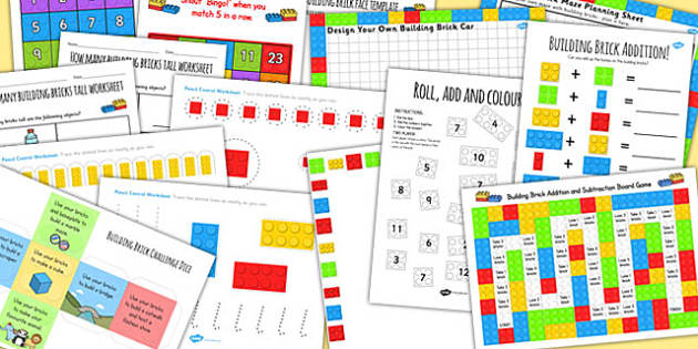 Building Bricks Activity Pack - activities, activity pack, toys, building bricks,
