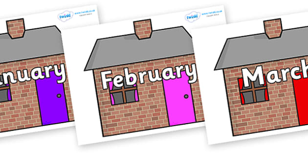 Months of the Year on Brick houses - Months of the Year, Months poster, Months display, display, poster, frieze, Months, month, January, February, March, April, May, June, July, August, September