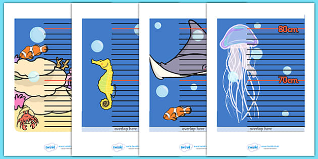 Under The Sea Themed Height Chart - under the sea themed, height chart, height, heights, chart, record, under the sea, sea, animals, fish, centimetres, metres, different, measuring, measurement