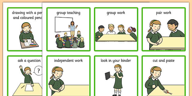 Classroom Visual Aid Cards Girl - classroom, visual aid, cards, visual, aid, visual aid cards