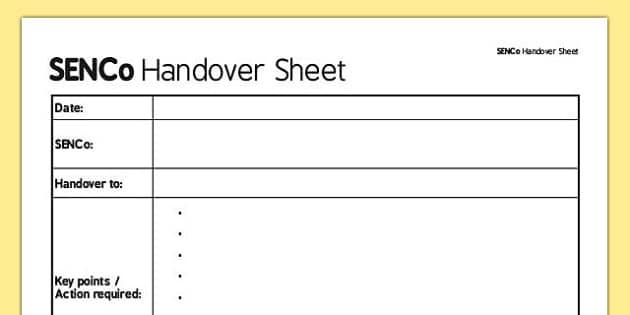 SENCo Handover Sheet - senco, handover sheet, handover, sheet