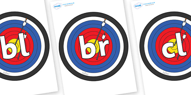 Initial Letter Blends on Colour Targets - Initial Letters, initial letter, letter blend, letter blends, consonant, consonants, digraph, trigraph, literacy, alphabet, letters, foundation stage literacy