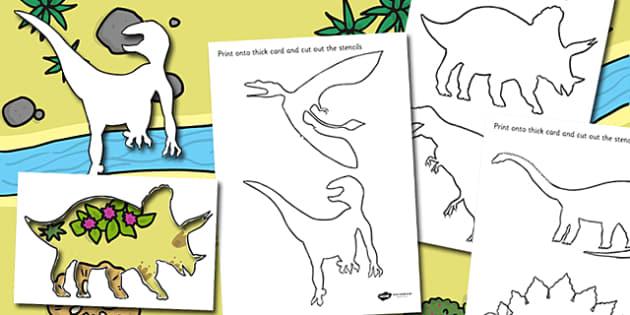 Dinosaur Stencils - dinosaur, stencils, drawing, art, colouring