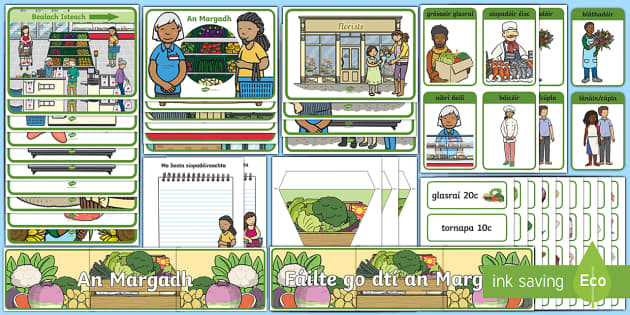The Market Aistear Pack as Gaeilge Display Pack-Irish - Aistear, Infants, English Oral Language, School, The Garda Station, The Hairdressers, The Airport, T