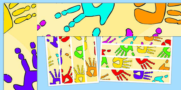 Handprint Themed Display Borders - handprint, display borders, display, borders