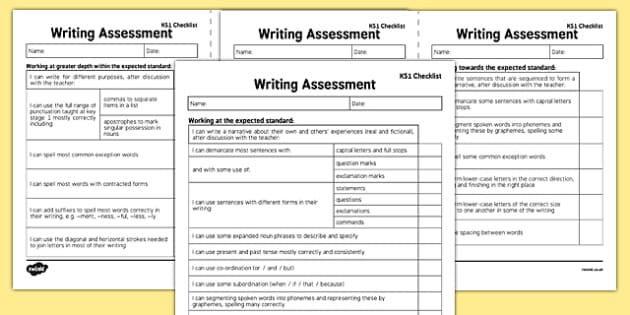 KS1 Writing Exemplification - I can statements Checklist - test, diagnostic, summative, formative