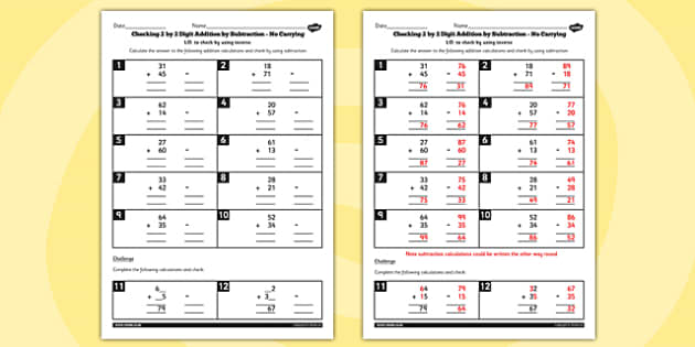 Y3 Inverse Check 2 Digit by 2 Addition Subtraction no Carry Sheet