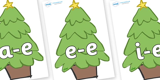 Modifying E Letters on Christmas Trees (Plain) - Modifying E, letters, modify, Phase 5, Phase five, alternative spellings for phonemes, DfES letters and Sounds