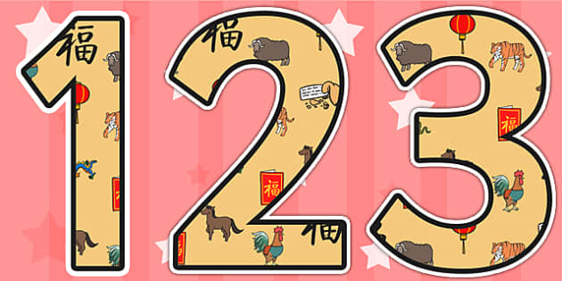 Chinese New Year Themed Display Numbers - chinese, numbers, china
