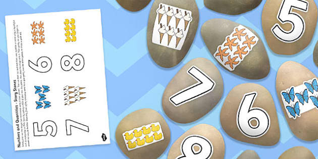 Numbers and Quantities Story Stone Image Cut Outs - story stones, number, cut outs