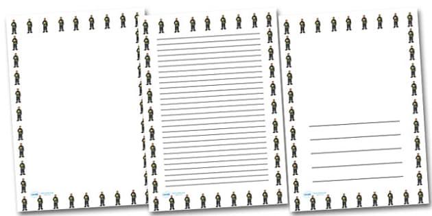 Male Firefighter Portrait Page Borders- Portrait Page Borders - Page border, border, writing template, writing aid, writing frame, a4 border, template, templates, landscape