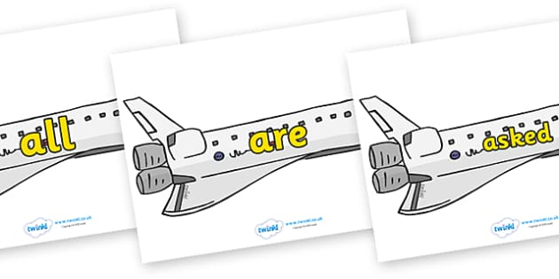Tricky Words on Space Shuttles - Tricky words, DfES Letters and Sounds, Letters and sounds, display, words