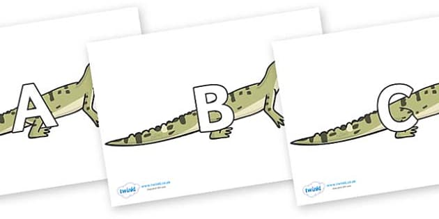 A-Z Alphabet on Aligators - A-Z, A4, display, Alphabet frieze, Display letters, Letter posters, A-Z letters, Alphabet flashcards