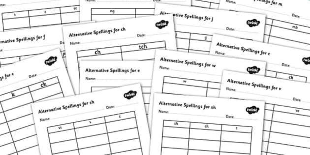 Alternative Spellings for Phonemes Table Worksheet Pack - alternative spellings for phonemes, table worksheet pack, table worksheet, phoneme worksheet