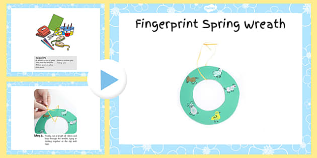 Fingerprint Spring Wreath Craft Instructions PowerPoint - craft, powerpoint, fingerprint, spring, wreath, instructions