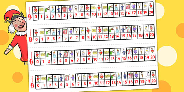 Punch and Judy Number Track 0 20 - Number, maths, tracks, punch