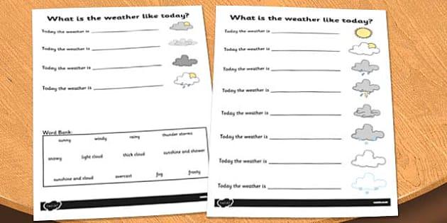 Weather Sentence Completer Activity Sheet - activities, game, worksheet
