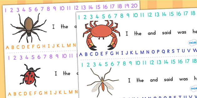 Minibeasts Combined Number and Alphabet Strips - visual aid, a-z