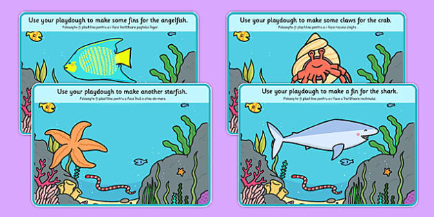 Under the Sea Playdough Mats Romanian Translation - Romanian, bilingual, playdough, mat, sea, fish