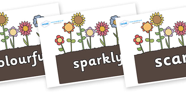 Wow Words on Flowers in Garden - Wow words, adjectives, VCOP, describing, Wow, display, poster, wow display, tasty, scary, ugly, beautiful, colourful sharp, bouncy