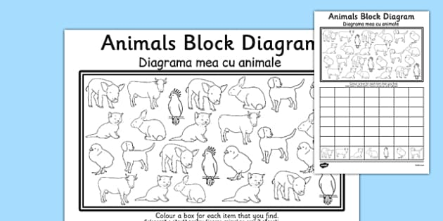 Animals Block Diagram Activity Sheet Romanian Translation - bilingual, maths, number, bar chart, data handling, worksheet