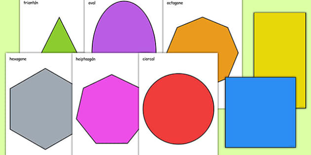 2D Shape A4 Cut Outs Gaeilge - gaeilge, roi, 2d shape, cut outs, shape, 2d, maths, numeracy