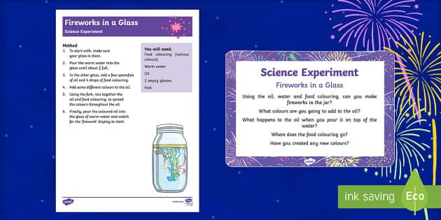 Fireworks in a Glass Science Experiment - Chinese New Year, Bonfire Night, EYFS