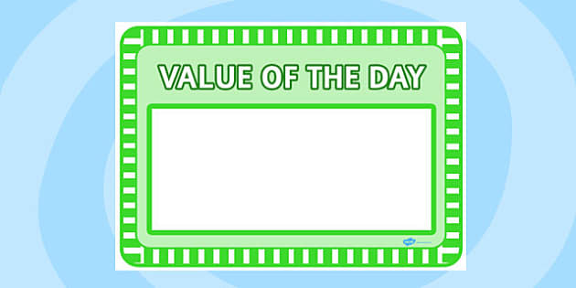 Value of the Day Sheet - value of the day, sheet, value, day, display
