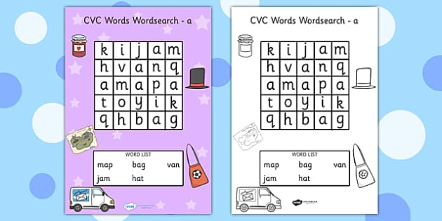 CVC Wordsearch a - CVC, word search, word games, games, CVC words