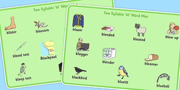 Two Syllable 'BL' Word Mats - bl sound, syllable, word mats, sound