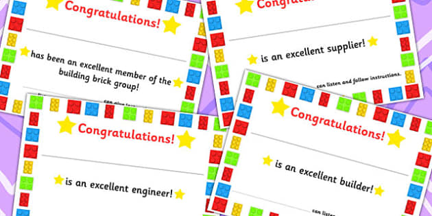 Building Bricks Therapy Certificates - rewards, reward, build