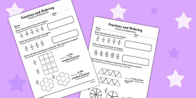 Fractions and Ordering Worksheet Romanian Translation - romanian