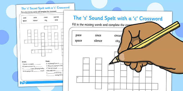 The s Sound Spelt with a c Crossword - crossword, s, activity