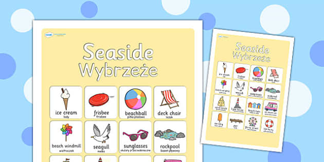 Seaside Vocabulary Poster Polish Translation - polish, seaside