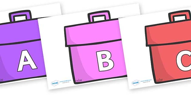 A-Z Alphabet on Book Bags - A-Z, A4, display, Alphabet frieze, Display letters, Letter posters, A-Z letters, Alphabet flashcards