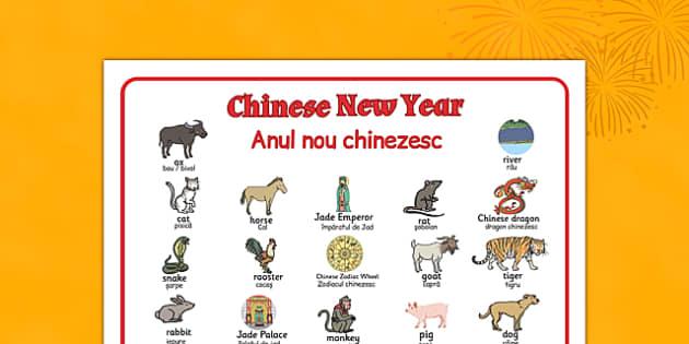 Chinese New Year Story Word Mat Romanian Translation - romanian, chinese new year, story, word mat, word, mat