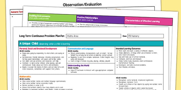 Maths Area Editable Continuous Provision Plan Nursery FS1 - maths