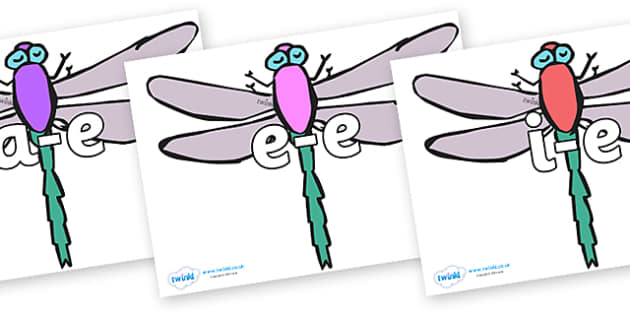 Modifying E Letters on Dragonflies - Modifying E, letters, modify, Phase 5, Phase five, alternative spellings for phonemes, DfES letters and Sounds