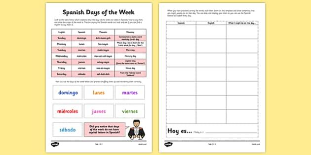 Spanish Days of the Week - spanish, days, week, language, spain